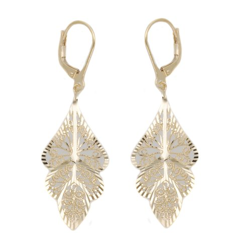9ct Yellow Gold E4052 Filigree Drop Earrings