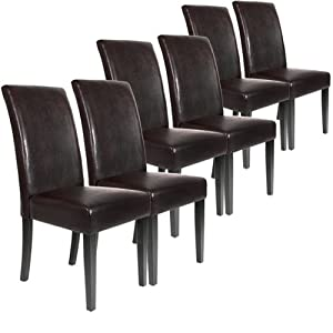 lot ensemble de 6 chaises pour salle manger salon en cuir marron cuisine maison. Black Bedroom Furniture Sets. Home Design Ideas