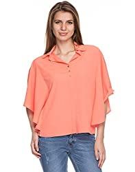 TARAMA Coral color Dull Crepe fabric Solid Shirt for womens
