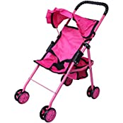 Precious Toys Hot Pink Doll Stroller, Black Handles And Hot Pink Frame - 0126A