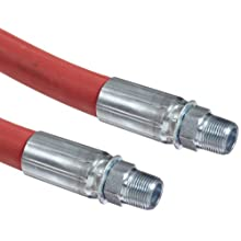 """Goodyear EP Flexsteel 250 Steam Red Rubber Steam Hose Assembly, 3/4"""" Male NPT Connection, 250 PSI Maximum Pressure, 50' Length, 3/4"""" ID"""