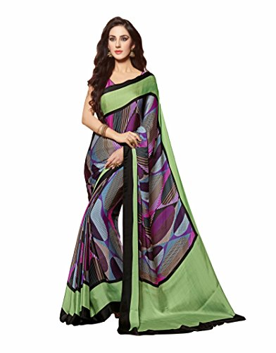Vipul Pure Bacardi Silk Saree, Multi-Coloured, 100% Genuine, No Copy (CAT 148)