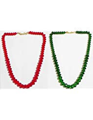 Dark Red And Dark Green Crystal Bead Necklace - Beads