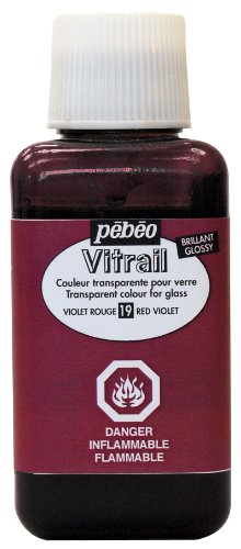 Pebeo 250Ml Vitrail Stained Glass Effect Paint Bottle, Red Violet