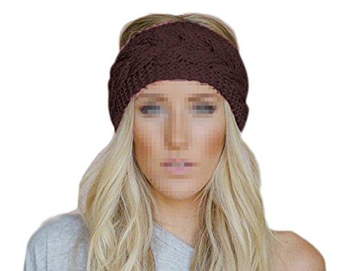 TININNA Inverno caldo uncinetto maglia Fascia per capelli Turbante Cerchietto Copricapo caldo orecchio per le donne ragazze Caffè