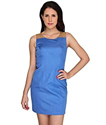 Idiotheory Women's Blue Sleeveless Dress( ITWCPSFDBE-04_S )