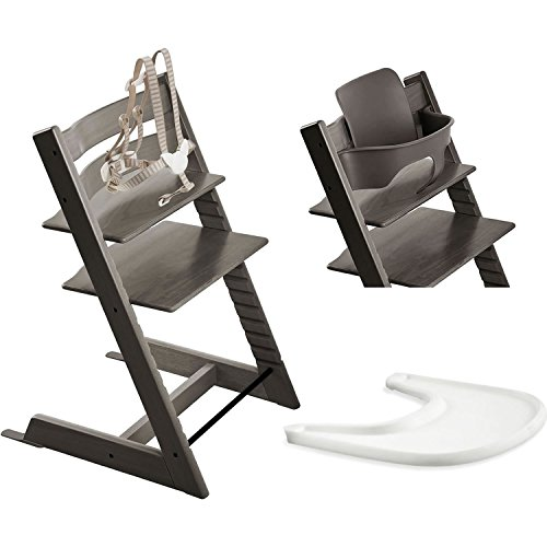 stokke tripp trapp chair with baby set tray hazy grey baby products store. Black Bedroom Furniture Sets. Home Design Ideas