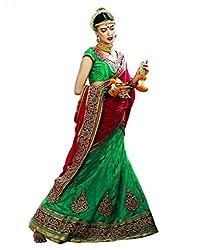 DesiButik's Wedding Wear Alluring Rama Net Lehenga