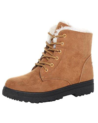 Minetom Donna Autunno Inverno Lace Up Pelliccia Neve Stivali Snow Boots Stivali Cavaliere Sneaker Moda Cachi EU 39