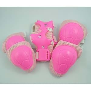 Como Children Pink Wrist Elbow Knee Pad Sports Support Set