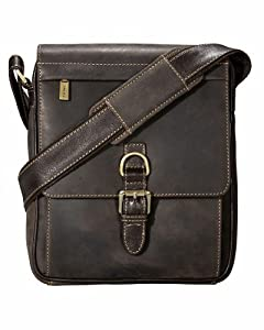 Visconti 16011 Distressed Leather Messenger Crossbody Bag with Front Buckle
