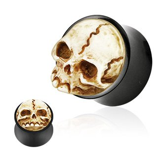 Organic Buffalo Horn Double Flared Plug with 3D Resin Hand Carved Skull - 1
