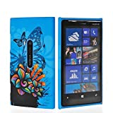 EnGive® Beautiful Nokia Lumia 920 Hard Case Protector Cover +Stylus +EnGive® Cleaning Cloth (blue butterfly)