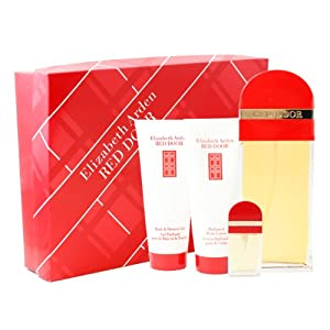 Red Door By Elizabeth Arden For Women. Gift Set ( Eau De Toilette Spray 3.3 Oz + Eau De Toilette Spray 0.33 Oz + Bath And Shower Gel 3.3 + Perfumed Body Lotion 3.3 Oz)