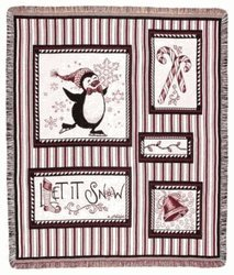 Snow Penguins Candy Cane Stripe Tapestry Throw Blanket front-960887