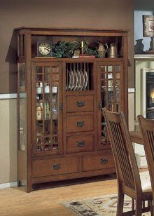 Cheap Arts and Craft Collection Mission Style China Cabinet /Buffet Hutch (VF_HE749-50)