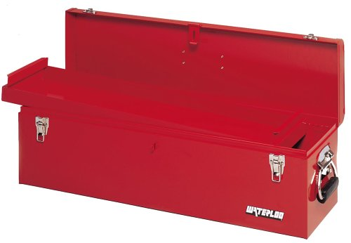 discount waterloo hm3052 30inch long by 8inch wide by 9inch high red metal carpenter tool box with full access metal tote tray for sale