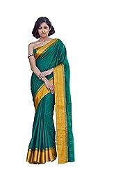 AASRI Women Green Cotton Blend Printed Work Saree
