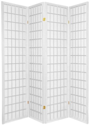 4-Panels Shoji Screen Room Divider, White 71″H x 70″W