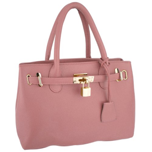 MG Collection HESSA Pink Décor Lock Office Tote