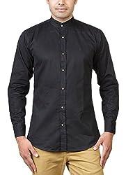 Basil Men's Cotton Blend Casual Shirt (BA360CSC33CSF-44, Black, 44)