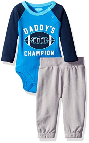 BON BEBE Baby Boys' 2 Piece Bodysuit Set with Sweatpant, Daddy Cool Champion Blue, 3-6 Months