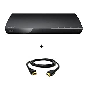 Sony BDP-S390 Blu-ray Disc Player with Wi-Fi (Black) with HDMI Cable