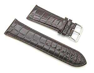 30mm Leather Alligator Grain Dark Brown Watch Band with Spring Bars