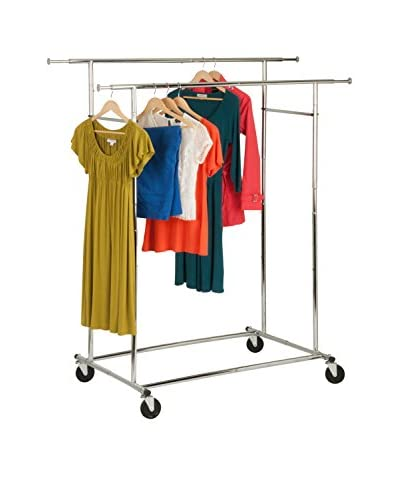 Honey-Can-Do Double Folding Commercial Garment Rack, Chrome