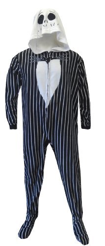Nightmare Before Christmas Jack Skellington Onesie Footie Pajama For Men (Large) front-821076