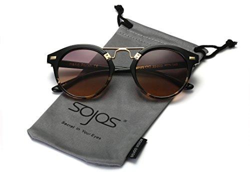 SojoS -  Occhiali da sole  - Donna C5 Demi Frame/Grey & Yellow Lens