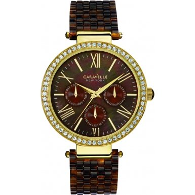 Caravelle New York Womens Ladies Caravelle 44N102 Ladies Gold Plated Stainless Steel Tortoise Shell Effect Bracelet Wrist Watch