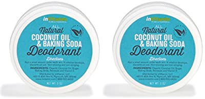 All Natural Coconut Oil and Baking Soda Deodorant (2 x 3oz jars, Prime)