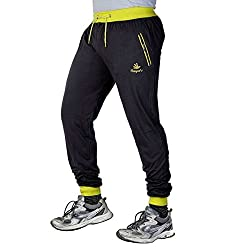 Fingers Mens Cotton Track Pants With Zipper PocketsTPMBY_Black&Yellow_Free Size