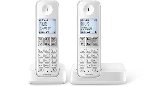 Philips D2302W/FR 2 Téléphones Fixes sans Fil avec Haut-Parleur, ID Appelant, Compatibles Toutes Box, Blanc
