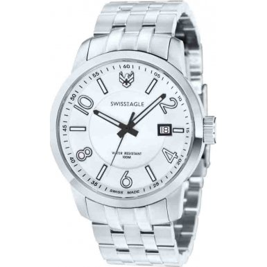 Swiss Eagle Major Men's Quartz Watch with Silver Dial Analogue Display and Silver Stainless Steel Strap SE 9037 22