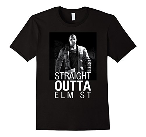 [Men's Jason Serial Killer Straight Outta Halloween Costume T-shirt Medium Black] (Easy Male Halloween Costumes Homemade)