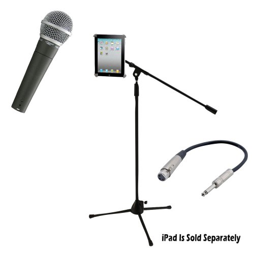 Pyle Mic And Stand Package - Pdmic58 Professional Moving Coil Dynamic Handheld Microphone - Pmkspad1 Multimedia Microphone Stand With Adapter For Ipad 2 (Adjustable For Compatibility W/Ipad 1 - Ppfmxlr01 12 Gauge 6 Inch 1/4'' To Xlr Female Cable