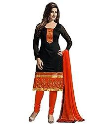Divyaemporio Women'S Faux Crepe Black And Orange Salwar Suits Dress Material