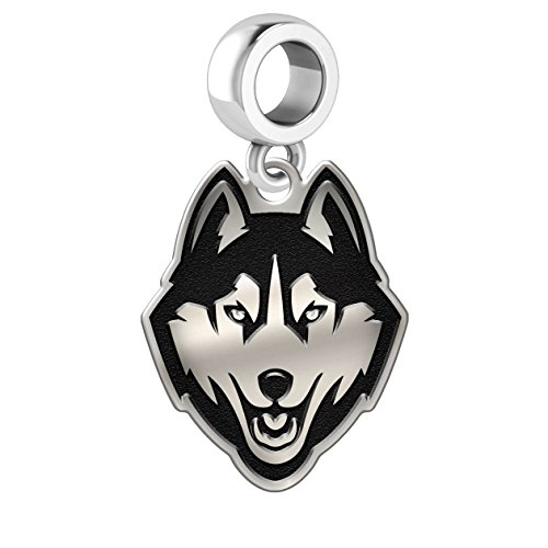 Connecticut Uconn Huskies Sterling Silver Logo Dangle Charm Fits All European Style Charm Bracelets.