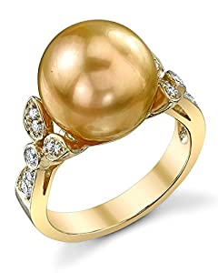 12mm Golden South Sea Cultured Pearl & Diamond Ariella Ring in 18K Gold
