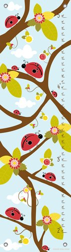 Oopsy Daisy Growth Charts Ladybug Branches Blue by Finny and Zook, 12 by 42-Inch