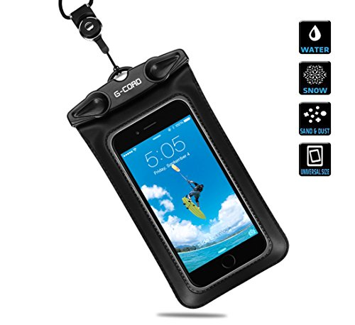 G-Cord Waterproof Pouch for iPhone 6 6s, iPhone 5s, 5, Galaxy Note 3, 2, S5, S6, HTC One X, Moto X - Black (IPX8 Certified to 100 Feet)