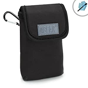Travel-Friendly Compact Velcro Camera Pouch with Carabiner , Belt Loop and Scratch-Resistant Interior by USA GEAR - Works With Nikon Coolpix AW130 , S33 , S7000 and More Nikon Point & Shoot Cameras