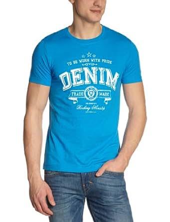 TOM TAILOR Denim Herren T-Shirt 10211780912/chest logo tee, Gr. 46 (S), Blau (6578 mexico blue)
