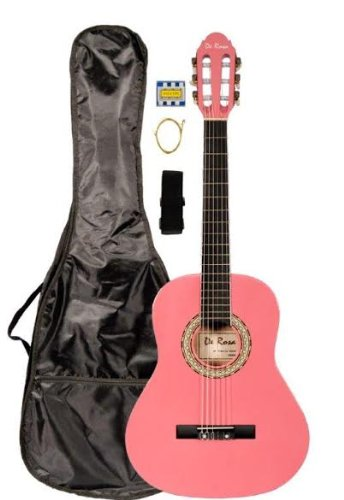 "36"" Inch 3/4 Pink Student Beginner Classical Nylon String Guitar And Carryying Bag, Strap, & Directlycheap(Tm) Translucent Blue Medium Guitar Pick (Pro-K Series)"
