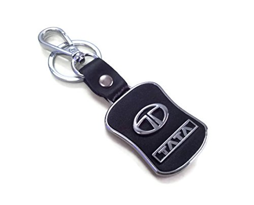 Chronowares Tata leather imported key chain key ring with chrome car logo for Nano Bolt Zest Vista Indica Manza Indigo Safari Storme Safari Dicor Sumo Gold Sumo Grande Venture Xenon XT Aria