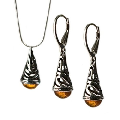 Certifed Genuine Amber and Sterling Silver Filigree Leverback Earrings Pendant Snake Chain 18