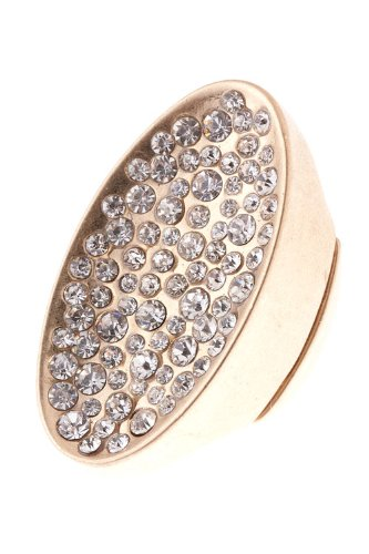 The Jewel Rack Oval Crystal Encrusted Ring (Matted Gold)