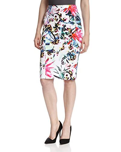 Nicole Miller Women's Orchid Jungle Powernet Seamed Skirt